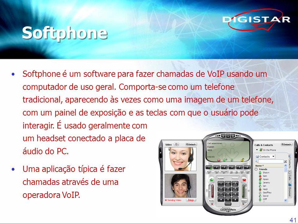 41 Softphone é um software para fazer chamadas de VoIP usando um computador de uso geral. Comporta-se como um telefone tradicional, aparecendo às veze