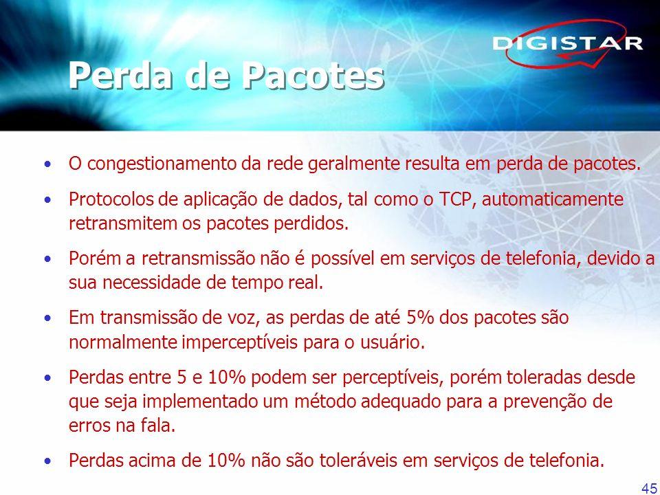45 O congestionamento da rede geralmente resulta em perda de pacotes. Protocolos de aplicação de dados, tal como o TCP, automaticamente retransmitem o