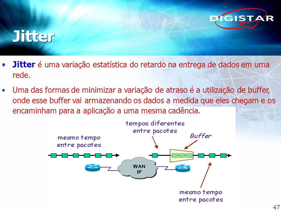 47 Jitter é uma variação estatística do retardo na entrega de dados em uma rede. Uma das formas de minimizar a variação de atraso é a utilização de bu