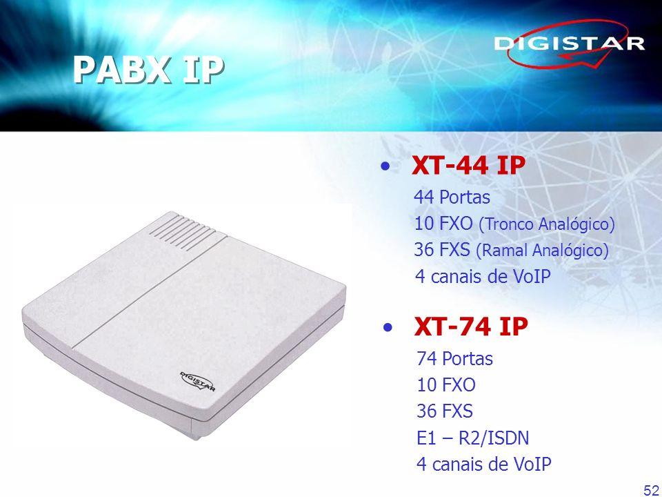 52 PABX IP XT-44 IP 44 Portas 10 FXO (Tronco Analógico) 36 FXS (Ramal Analógico) 4 canais de VoIP XT-74 IP 74 Portas 10 FXO 36 FXS E1 – R2/ISDN 4 cana