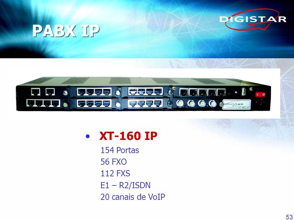 53 PABX IP XT-160 IP 154 Portas 56 FXO 112 FXS E1 – R2/ISDN 20 canais de VoIP
