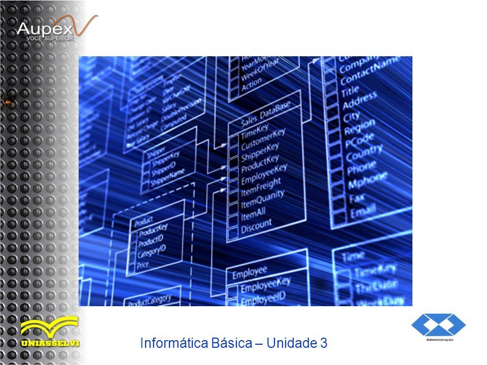 2 Componentes da Tecnologia da Informação 2.3 Sistemas de Telecomunicações Teleprocessamento de Informações Redes de comunicação e dados Teleinformática 7/45 Tópico 1 185 Unidade 3