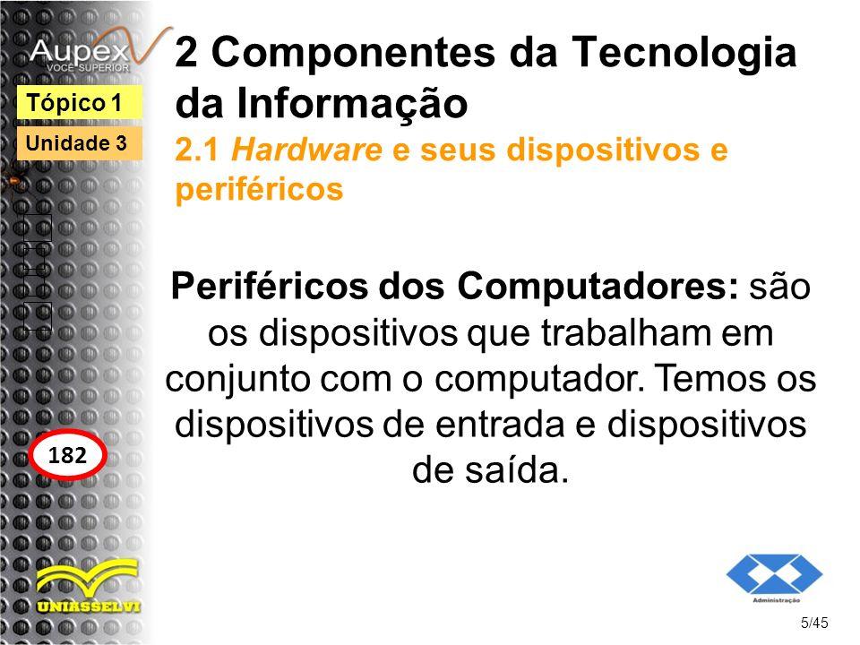2 Componentes da Tecnologia da Informação 2.1 Hardware e seus dispositivos e periféricos Periféricos dos Computadores: são os dispositivos que trabalh