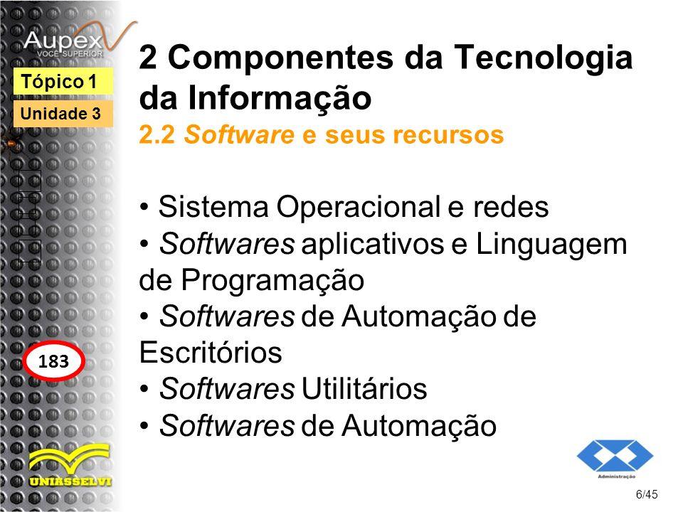 2 Componentes da Tecnologia da Informação 2.2 Software e seus recursos Sistema Operacional e redes Softwares aplicativos e Linguagem de Programação So