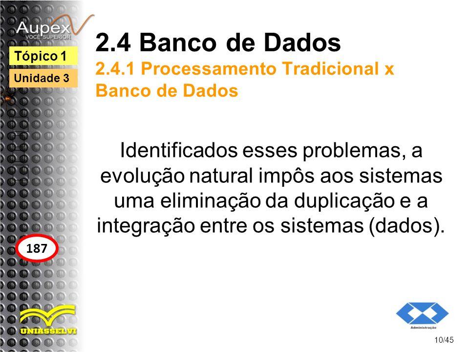 2.4 Banco de Dados 2.4.1 Processamento Tradicional x Banco de Dados Identificados esses problemas, a evolução natural impôs aos sistemas uma eliminaçã
