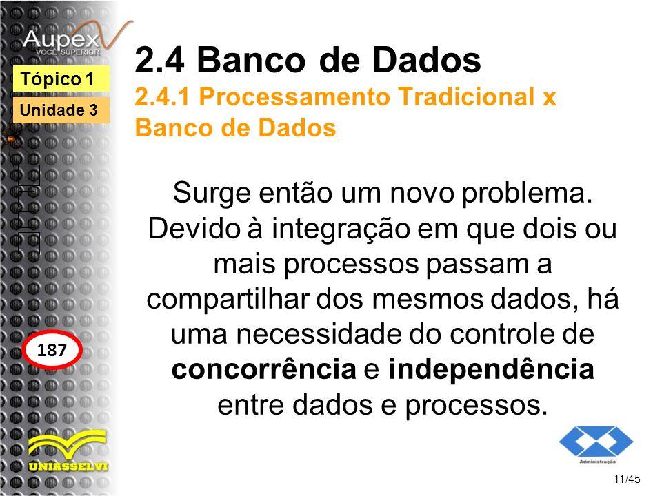 2.4 Banco de Dados 2.4.1 Processamento Tradicional x Banco de Dados Surge então um novo problema. Devido à integração em que dois ou mais processos pa