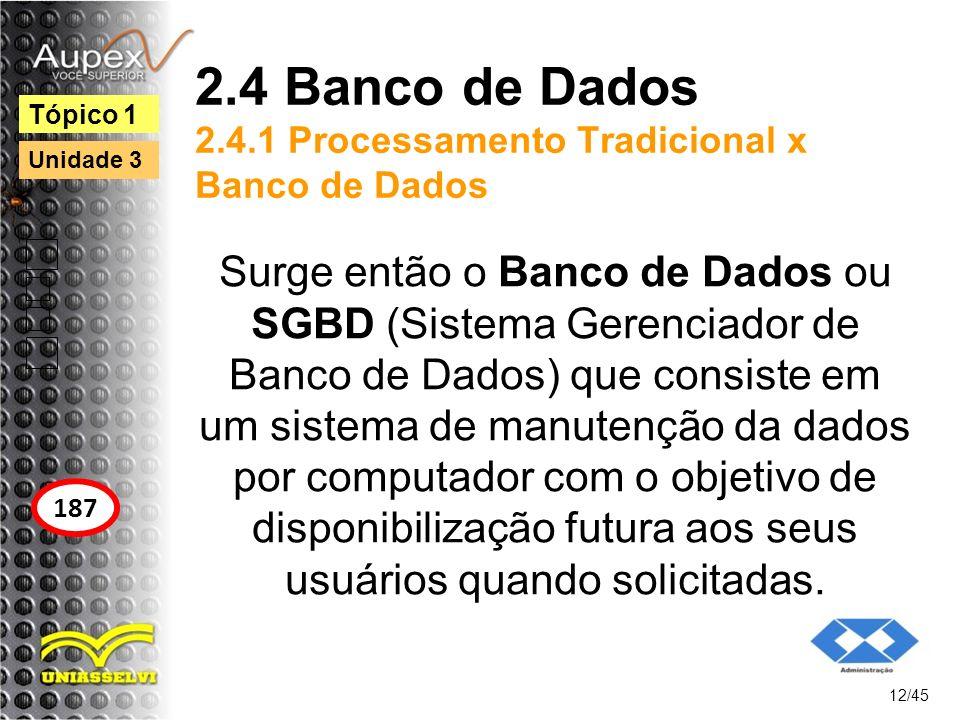 2.4 Banco de Dados 2.4.1 Processamento Tradicional x Banco de Dados Surge então o Banco de Dados ou SGBD (Sistema Gerenciador de Banco de Dados) que c