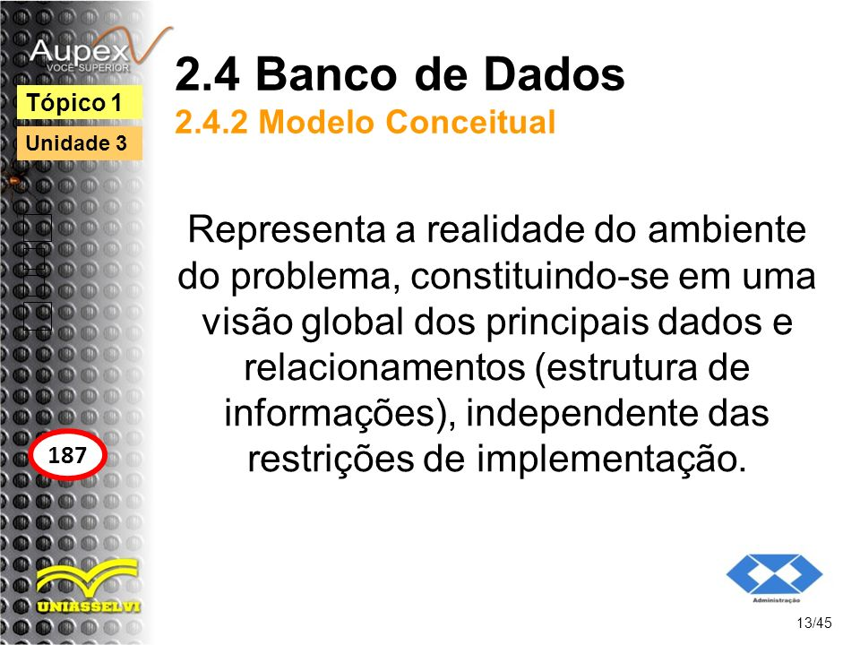 2.4 Banco de Dados 2.4.2 Modelo Conceitual Representa a realidade do ambiente do problema, constituindo-se em uma visão global dos principais dados e