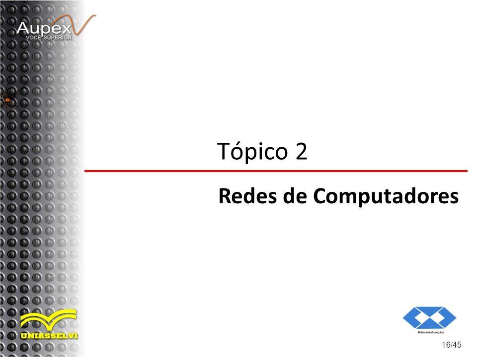 16/45 Tópico 2 Redes de Computadores