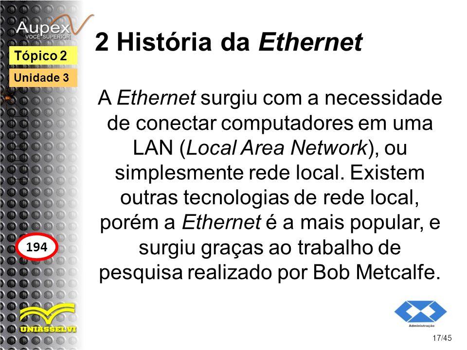 2 História da Ethernet A Ethernet surgiu com a necessidade de conectar computadores em uma LAN (Local Area Network), ou simplesmente rede local. Exist