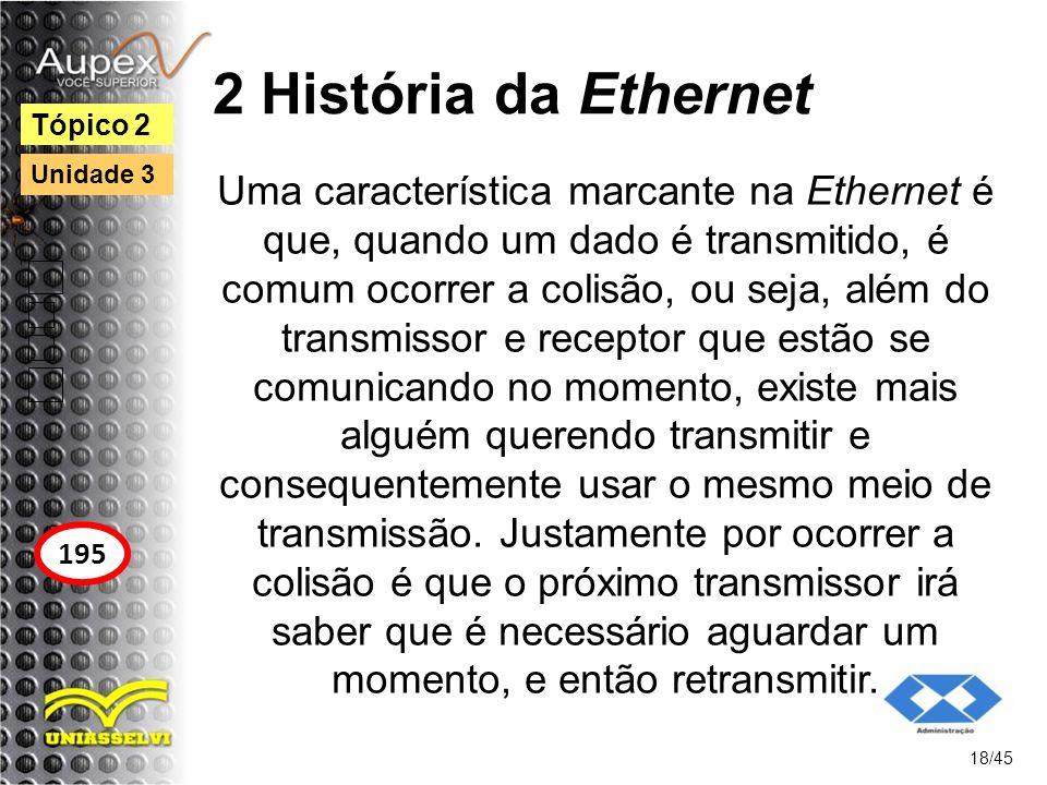 2 História da Ethernet Uma característica marcante na Ethernet é que, quando um dado é transmitido, é comum ocorrer a colisão, ou seja, além do transm