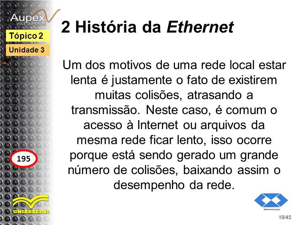 2 História da Ethernet Um dos motivos de uma rede local estar lenta é justamente o fato de existirem muitas colisões, atrasando a transmissão. Neste c