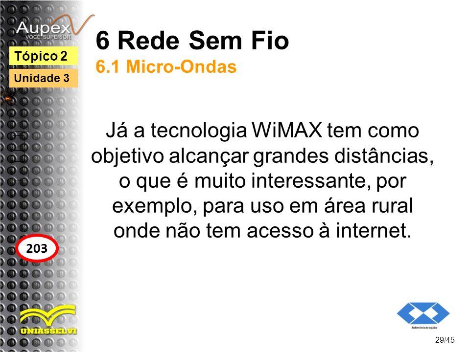 6 Rede Sem Fio 6.1 Micro-Ondas Já a tecnologia WiMAX tem como objetivo alcançar grandes distâncias, o que é muito interessante, por exemplo, para uso