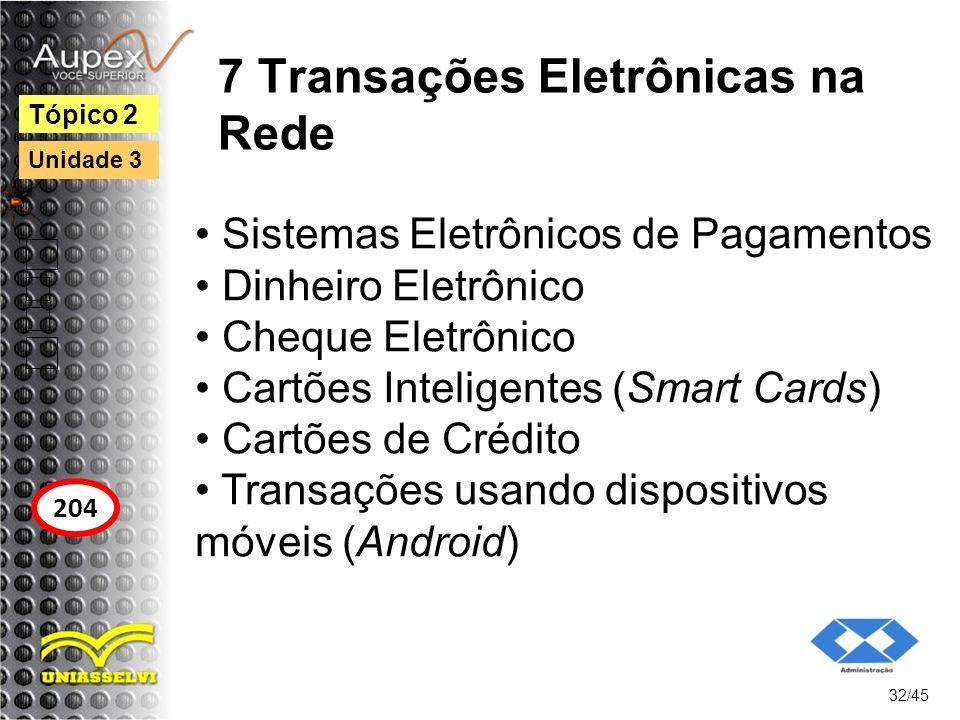 7 Transações Eletrônicas na Rede Sistemas Eletrônicos de Pagamentos Dinheiro Eletrônico Cheque Eletrônico Cartões Inteligentes (Smart Cards) Cartões d