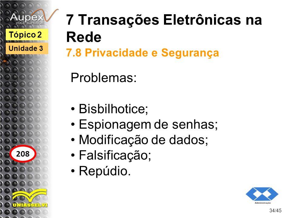 7 Transações Eletrônicas na Rede 7.8 Privacidade e Segurança Problemas: Bisbilhotice; Espionagem de senhas; Modificação de dados; Falsificação; Repúdi