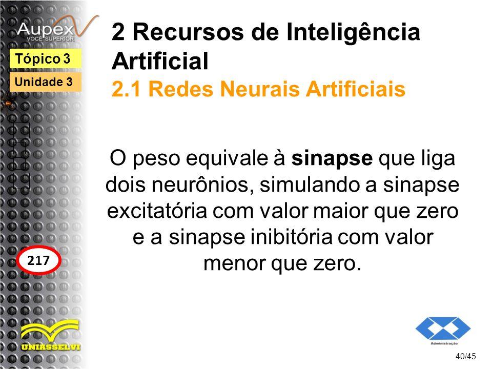 2 Recursos de Inteligência Artificial 2.1 Redes Neurais Artificiais O peso equivale à sinapse que liga dois neurônios, simulando a sinapse excitatória