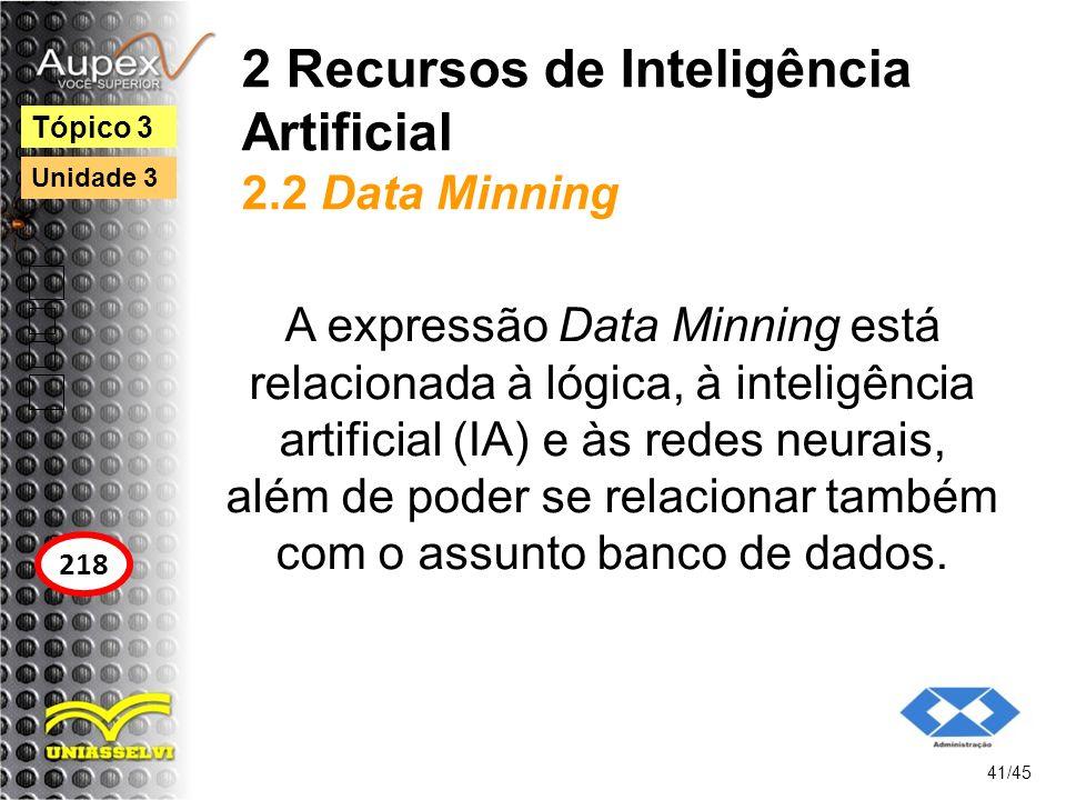 2 Recursos de Inteligência Artificial 2.2 Data Minning A expressão Data Minning está relacionada à lógica, à inteligência artificial (IA) e às redes n