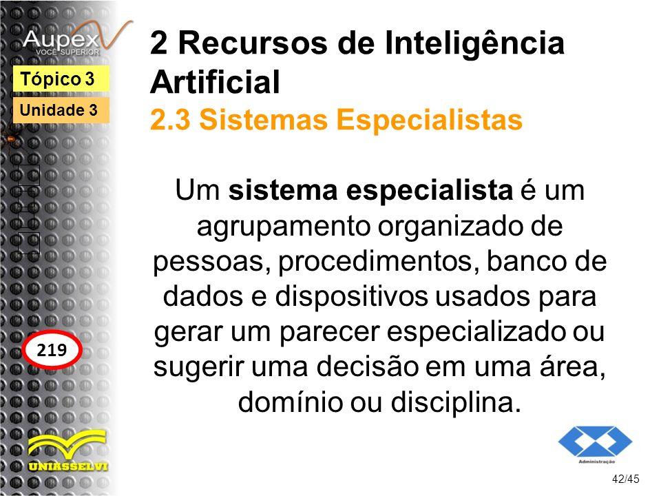 2 Recursos de Inteligência Artificial 2.3 Sistemas Especialistas Um sistema especialista é um agrupamento organizado de pessoas, procedimentos, banco