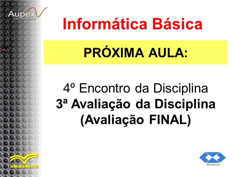 PRÓXIMA AULA: Informática Básica 4º Encontro da Disciplina 3ª Avaliação da Disciplina (Avaliação FINAL)