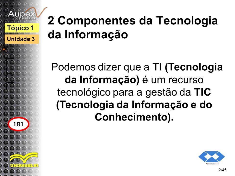 2 Componentes da Tecnologia da Informação 2.1 Hardware e seus dispositivos e periféricos Hardware é o conjunto integrado de dispositivos físicos, posicionados por mecanismos de processamento que utilizam a eletrônica digital, usados para entrar, processar, armazenar e sair dados.