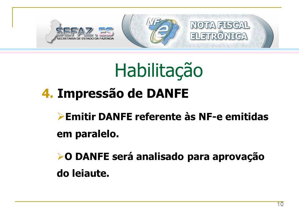 10 Habilitação 4. Impressão de DANFE Emitir DANFE referente às NF-e emitidas em paralelo. O DANFE será analisado para aprovação do leiaute.