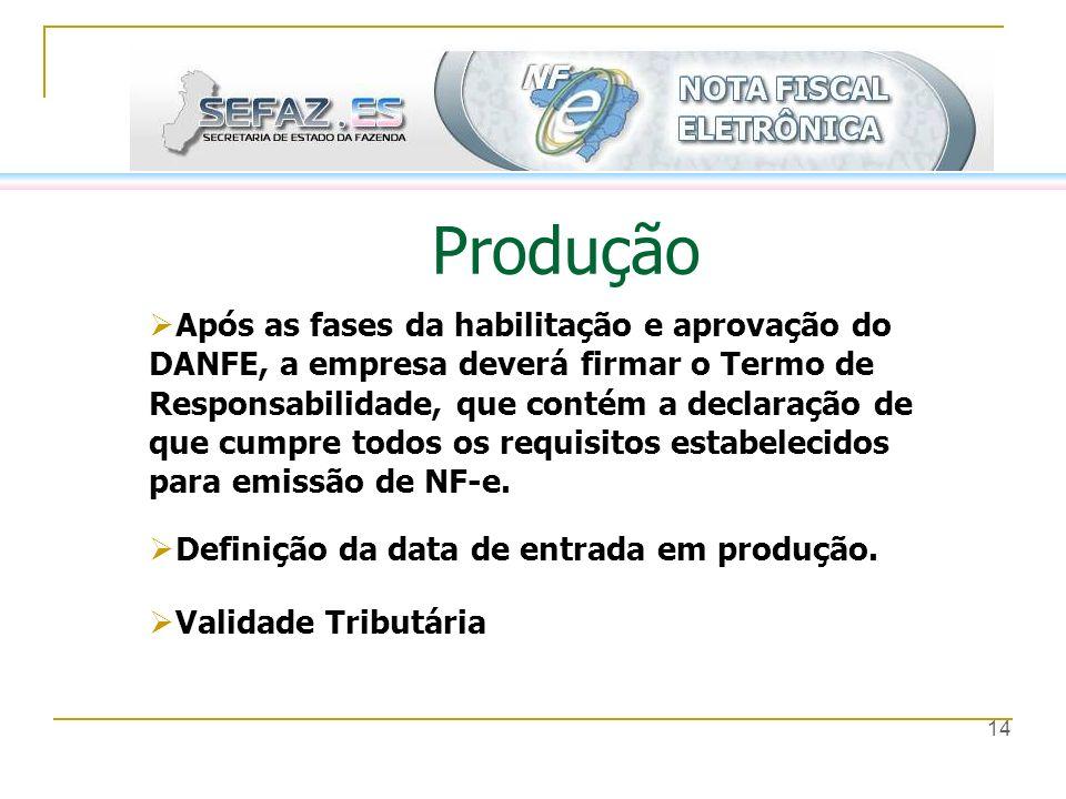 14 Produção Após as fases da habilitação e aprovação do DANFE, a empresa deverá firmar o Termo de Responsabilidade, que contém a declaração de que cum