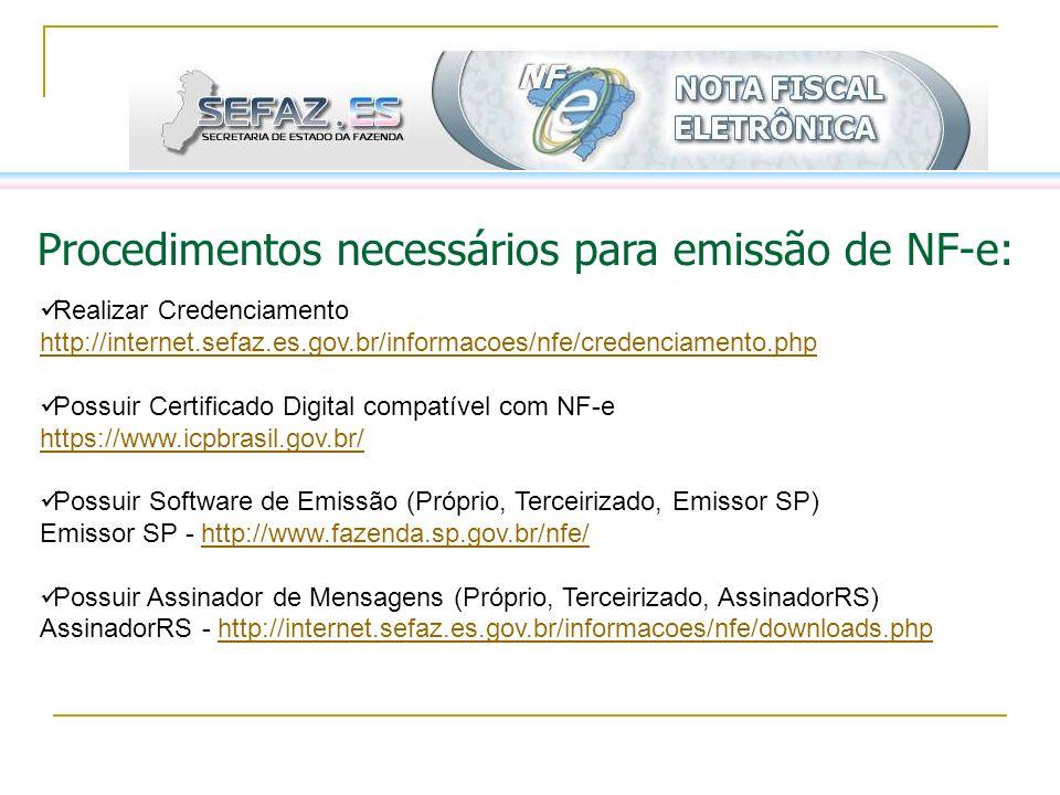 Procedimentos necessários para emissão de NF-e: Realizar Credenciamento http://internet.sefaz.es.gov.br/informacoes/nfe/credenciamento.php http://inte