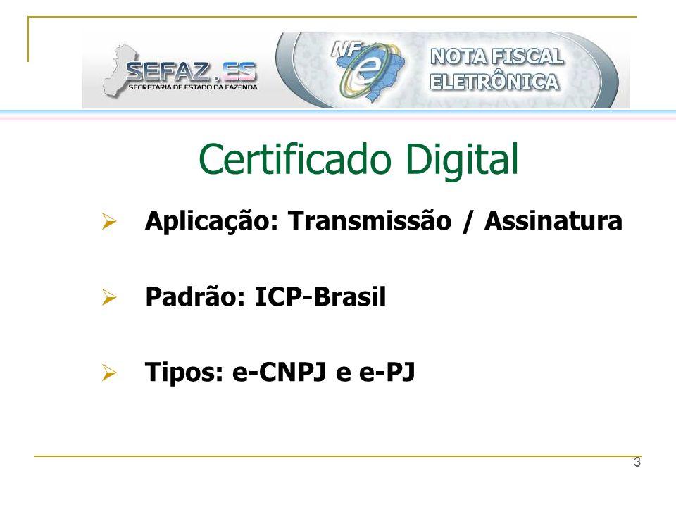 3 Certificado Digital Aplicação: Transmissão / Assinatura Padrão: ICP-Brasil Tipos: e-CNPJ e e-PJ