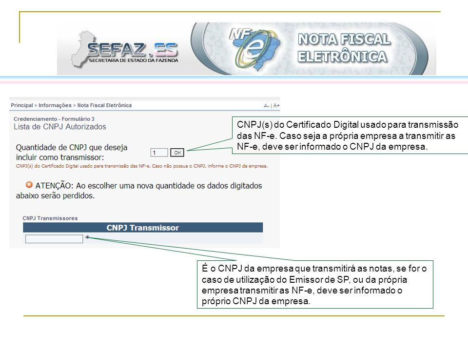 É o CNPJ da empresa que transmitirá as notas, se for o caso de utilização do Emissor de SP, ou da própria empresa transmitir as NF-e, deve ser informa
