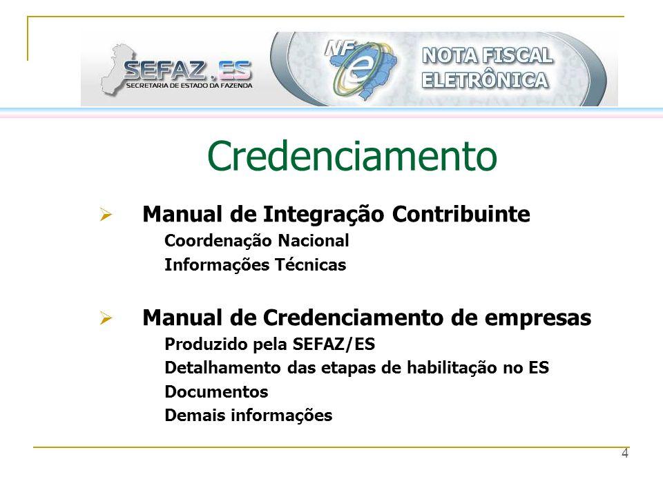 4 Credenciamento Manual de Integração Contribuinte Coordenação Nacional Informações Técnicas Manual de Credenciamento de empresas Produzido pela SEFAZ