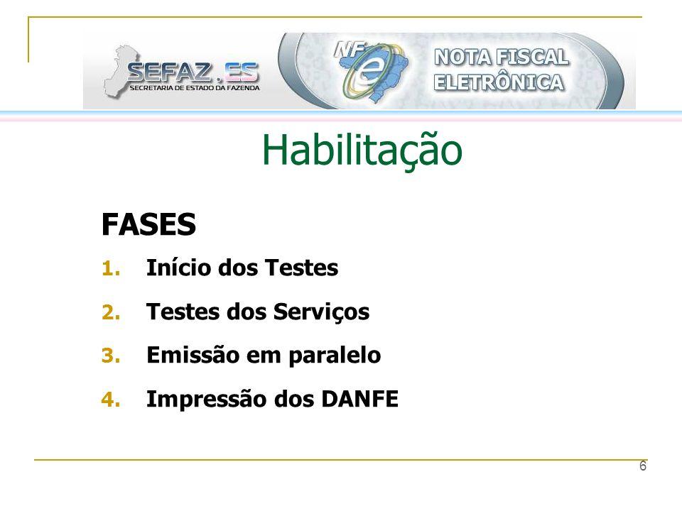 6 Habilitação FASES 1. Início dos Testes 2. Testes dos Serviços 3. Emissão em paralelo 4. Impressão dos DANFE