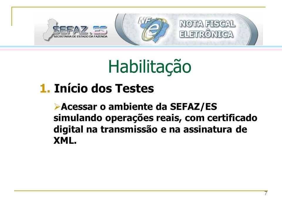 7 Habilitação 1. Início dos Testes Acessar o ambiente da SEFAZ/ES simulando operações reais, com certificado digital na transmissão e na assinatura de