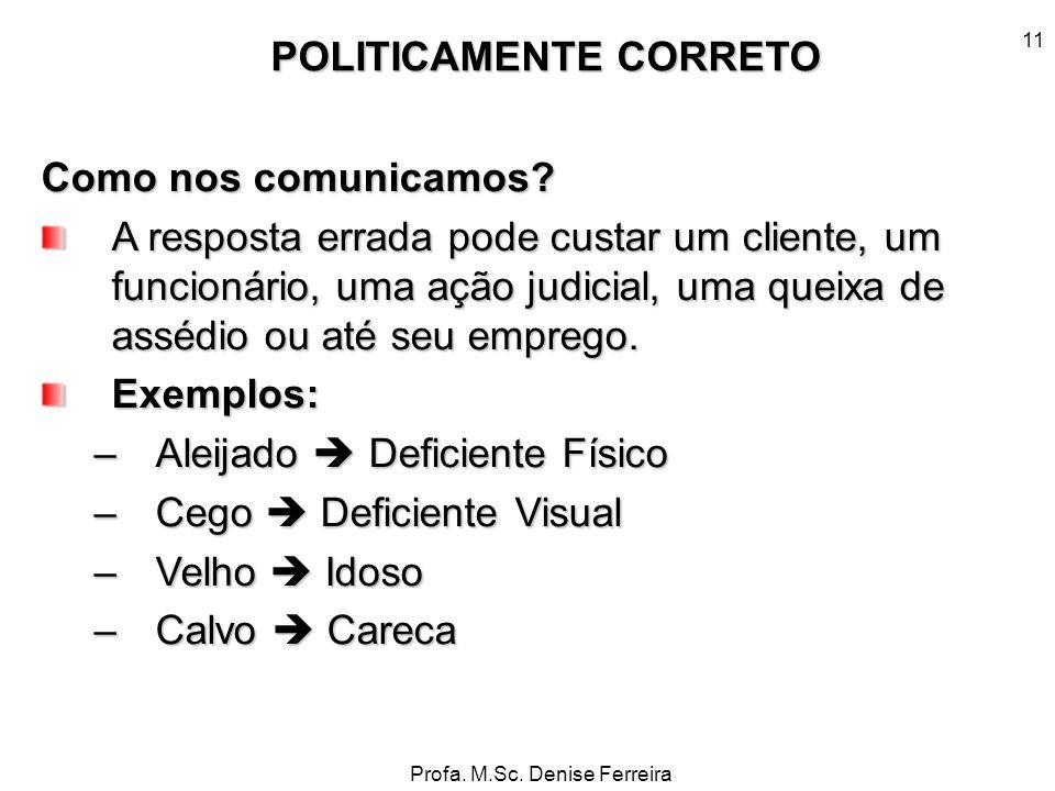 Profa. M.Sc. Denise Ferreira 11 Como nos comunicamos? A resposta errada pode custar um cliente, um funcionário, uma ação judicial, uma queixa de asséd