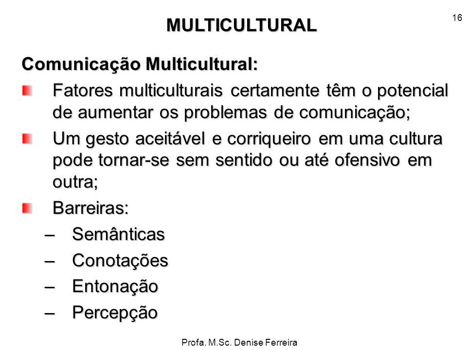 Profa. M.Sc. Denise Ferreira 16 Comunicação Multicultural: Fatores multiculturais certamente têm o potencial de aumentar os problemas de comunicação;