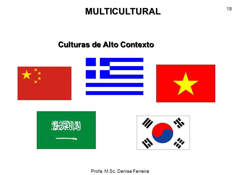 Profa. M.Sc. Denise Ferreira 19MULTICULTURAL Culturas de Alto Contexto