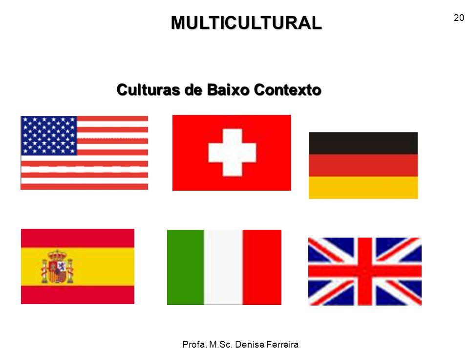 Profa. M.Sc. Denise Ferreira 20MULTICULTURAL Culturas de Baixo Contexto