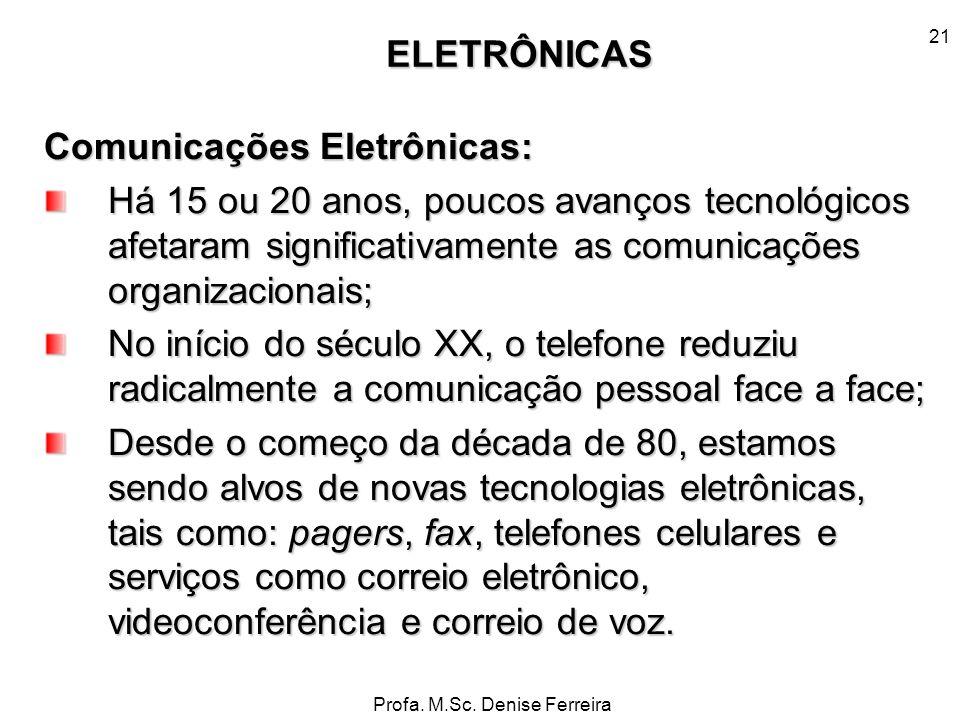Profa. M.Sc. Denise Ferreira 21 Comunicações Eletrônicas: Há 15 ou 20 anos, poucos avanços tecnológicos afetaram significativamente as comunicações or