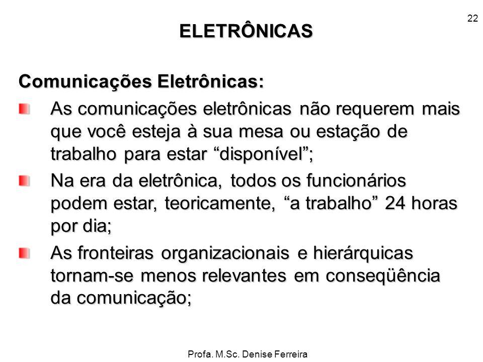 Profa. M.Sc. Denise Ferreira 22 Comunicações Eletrônicas: As comunicações eletrônicas não requerem mais que você esteja à sua mesa ou estação de traba