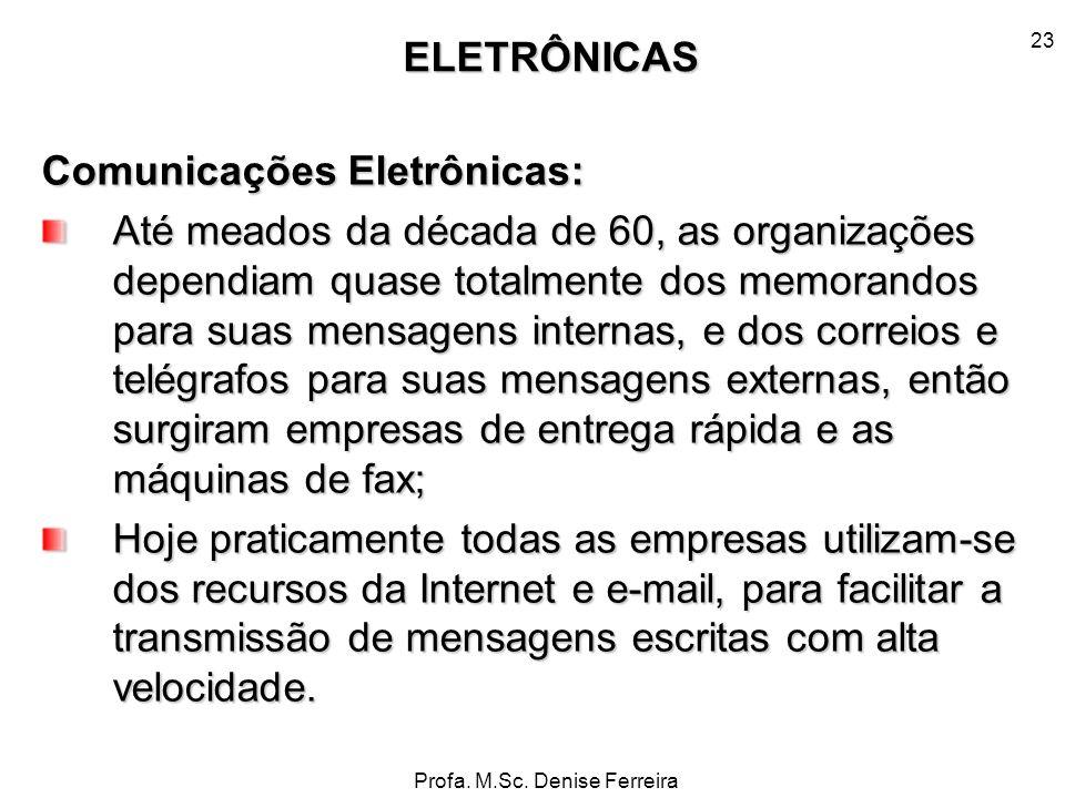 Profa. M.Sc. Denise Ferreira 23 Comunicações Eletrônicas: Até meados da década de 60, as organizações dependiam quase totalmente dos memorandos para s