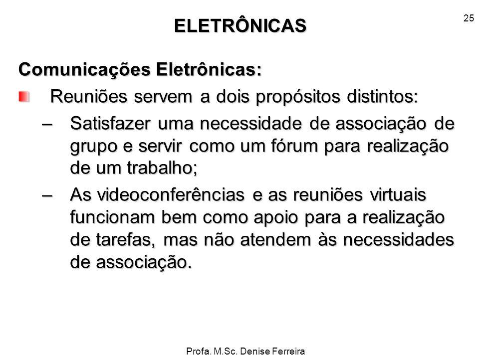 Profa. M.Sc. Denise Ferreira 25 Comunicações Eletrônicas: Reuniões servem a dois propósitos distintos: –Satisfazer uma necessidade de associação de gr