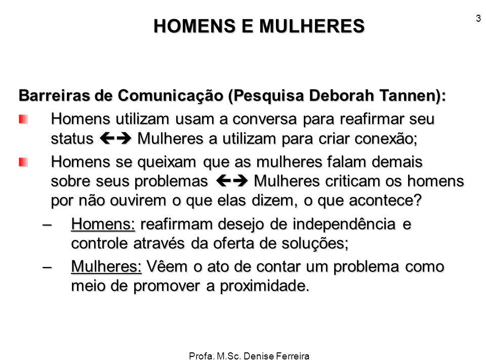 Profa. M.Sc. Denise Ferreira 3 Barreiras de Comunicação (Pesquisa Deborah Tannen): Homens utilizam usam a conversa para reafirmar seu status Mulheres