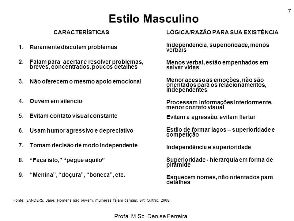 Profa. M.Sc. Denise Ferreira 7 Estilo Masculino CARACTERÍSTICAS 1.Raramente discutem problemas 2.Falam para acertar e resolver problemas, breves, conc