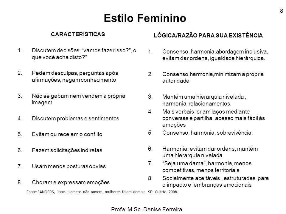 Profa. M.Sc. Denise Ferreira 8 Estilo Feminino CARACTERÍSTICAS 1.Discutem decisões, vamos fazer isso?, o que você acha disto? 2.Pedem desculpas, pergu