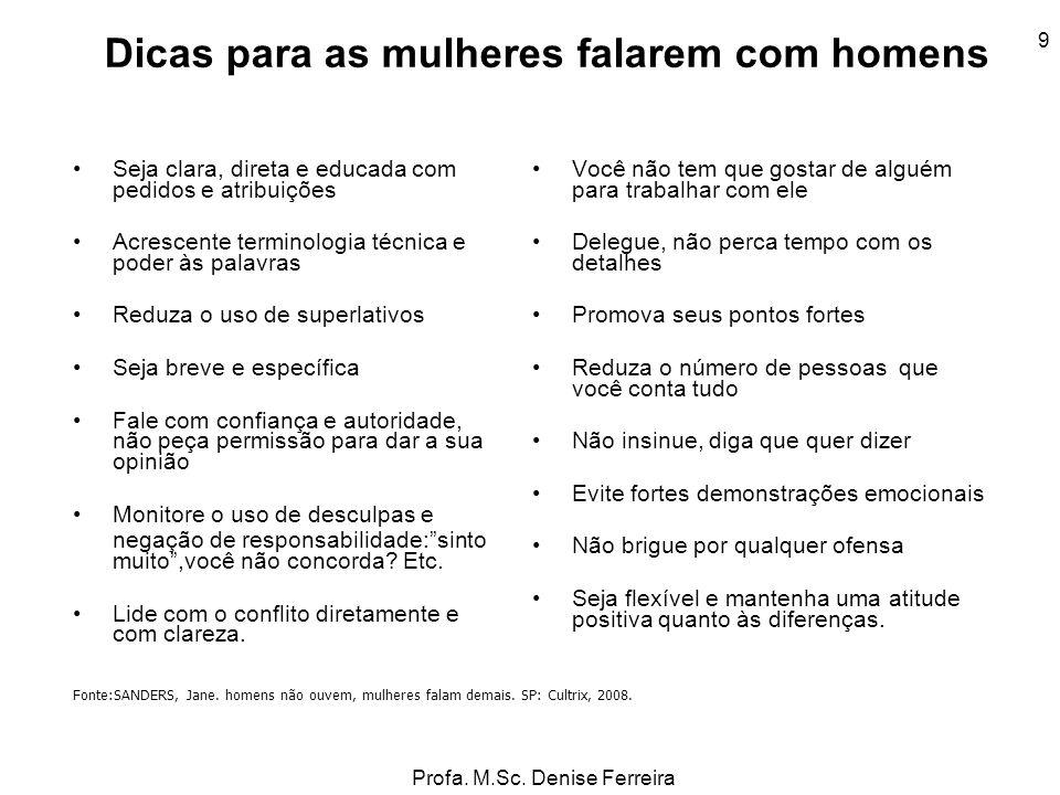 Profa. M.Sc. Denise Ferreira 9 Dicas para as mulheres falarem com homens Seja clara, direta e educada com pedidos e atribuições Acrescente terminologi