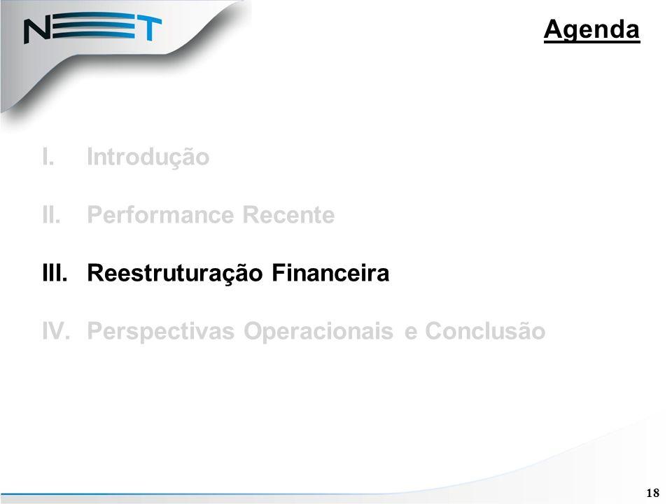 18 Agenda I.Introdução II.Performance Recente III.Reestruturação Financeira IV.Perspectivas Operacionais e Conclusão