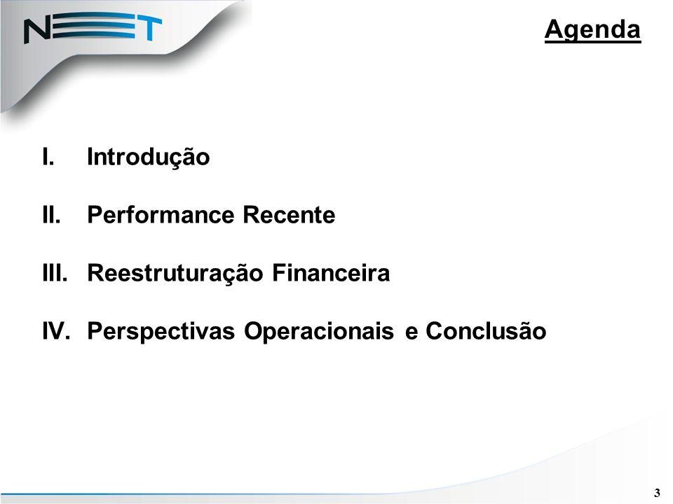 3 Agenda I.Introdução II.Performance Recente III.Reestruturação Financeira IV.Perspectivas Operacionais e Conclusão
