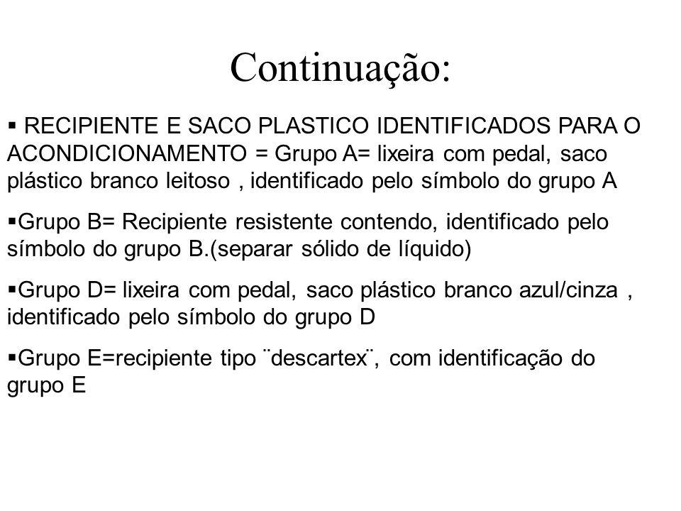 Continuação: RECIPIENTE E SACO PLASTICO IDENTIFICADOS PARA O ACONDICIONAMENTO = Grupo A= lixeira com pedal, saco plástico branco leitoso, identificado