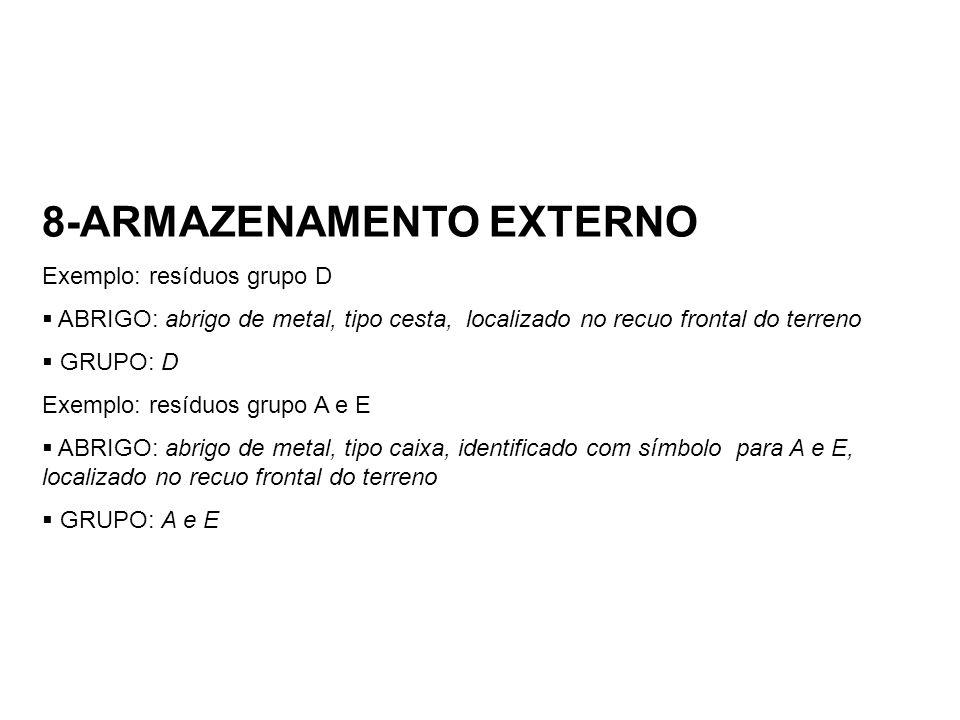 8-ARMAZENAMENTO EXTERNO Exemplo: resíduos grupo D ABRIGO: abrigo de metal, tipo cesta, localizado no recuo frontal do terreno GRUPO: D Exemplo: resídu