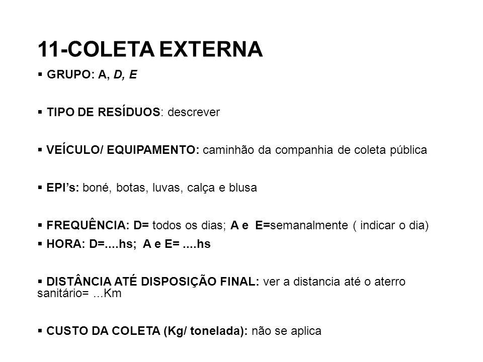 11-COLETA EXTERNA GRUPO: A, D, E TIPO DE RESÍDUOS: descrever VEÍCULO/ EQUIPAMENTO: caminhão da companhia de coleta pública EPIs: boné, botas, luvas, c