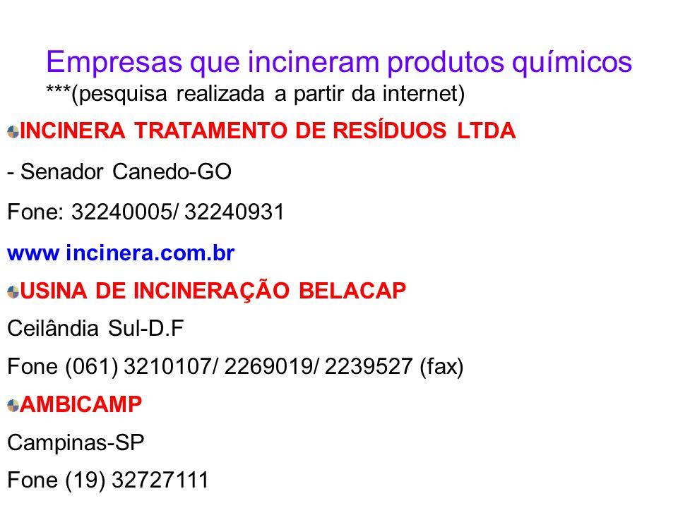 INCINERA TRATAMENTO DE RESÍDUOS LTDA - Senador Canedo-GO Fone: 32240005/ 32240931 www incinera.com.br USINA DE INCINERAÇÃO BELACAP Ceilândia Sul-D.F Fone (061) 3210107/ 2269019/ 2239527 (fax) AMBICAMP Campinas-SP Fone (19) 32727111 www.ambicampbrasil.com.
